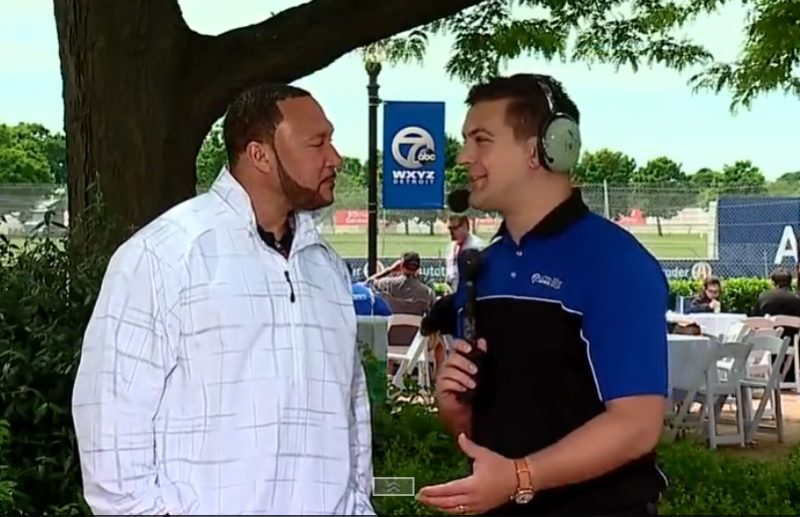 Charlie Batch being interviewed at the Detroit Grand Prix