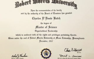 Charlie Batch Master's Degree for Organizational Leadership from Robert Morris