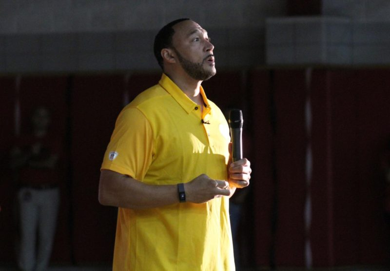 Charlie Batch delivering a motivational speech to Mohawk High School outside of Pittsburgh, PA